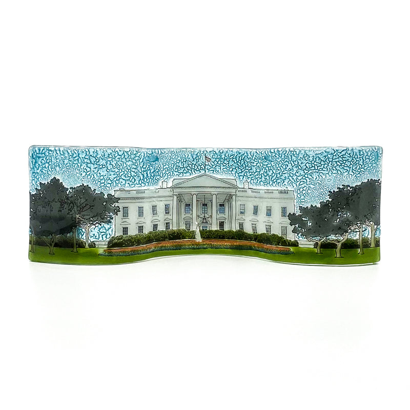 Plaque-White House Wavy Glass