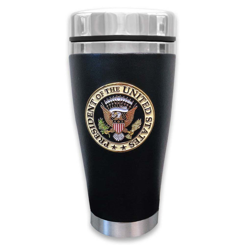 Presidential Seal Leather Travel Mug