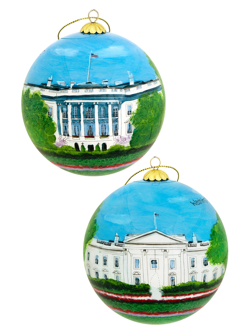Small Glass White House Hand Painted Ornament