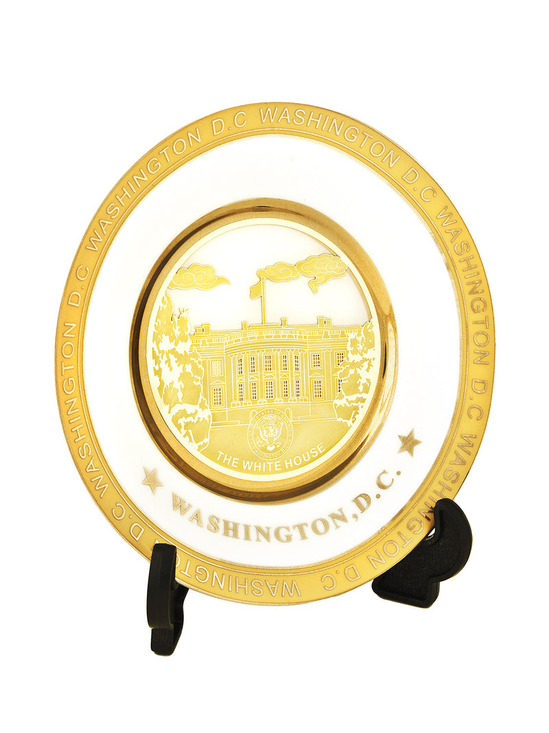 White House Gold and White Plate
