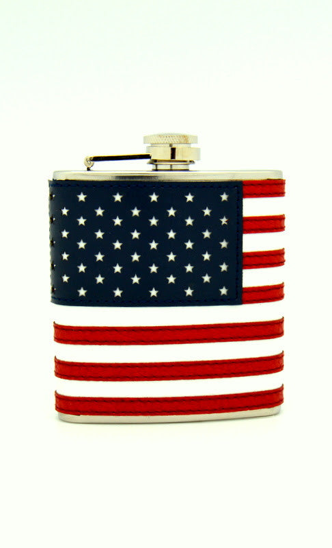 Leather American Flag Flask