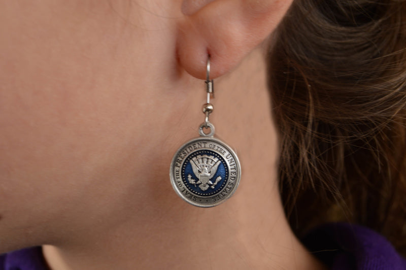 President Seal Earrings Pewter