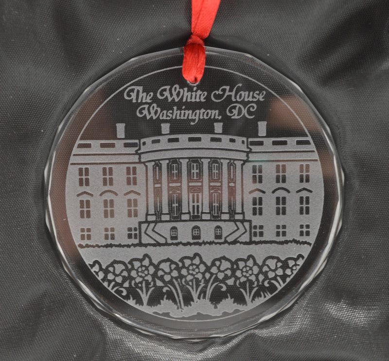 White House  Glass Etched Ornament