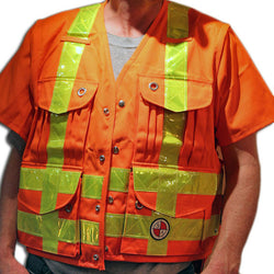 PC13/PC13Z Party Chief Survey vest, HEAVY DUTY, yellow pvc striping, with or without short zip off sleeves, Safety Orange Only