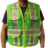 PC15X Party Chief Vest, HEAVY DUTY Orange, Yellow, Lime Green