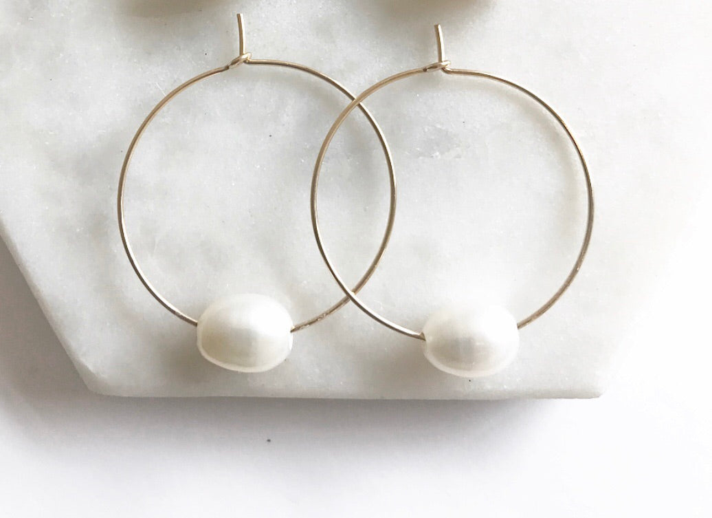 Single Pearl Hoops | 1""