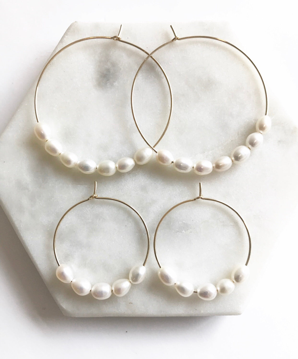 Beaded Pearl Hoops | 1""