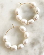 Large Beaded Pearl Hoop | 1""