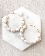 Large Beaded Pearl Hoop | 2""