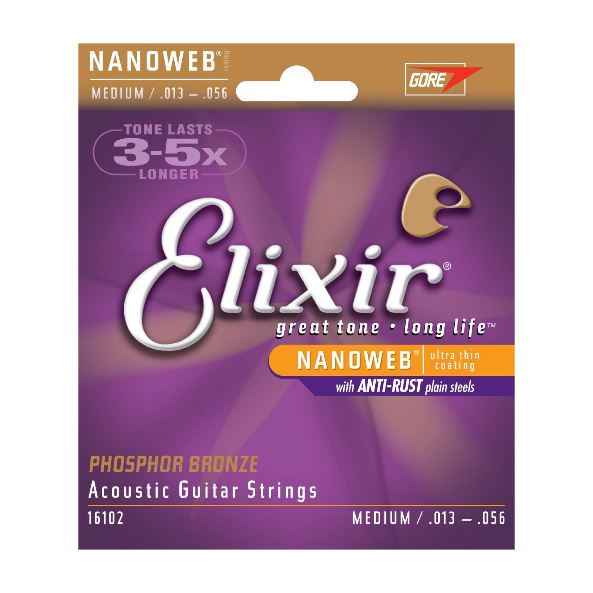 Elixir Acoustic Medium Phosphor Bronze with NANOWEB Coating - Tarpley Music Company, Inc.