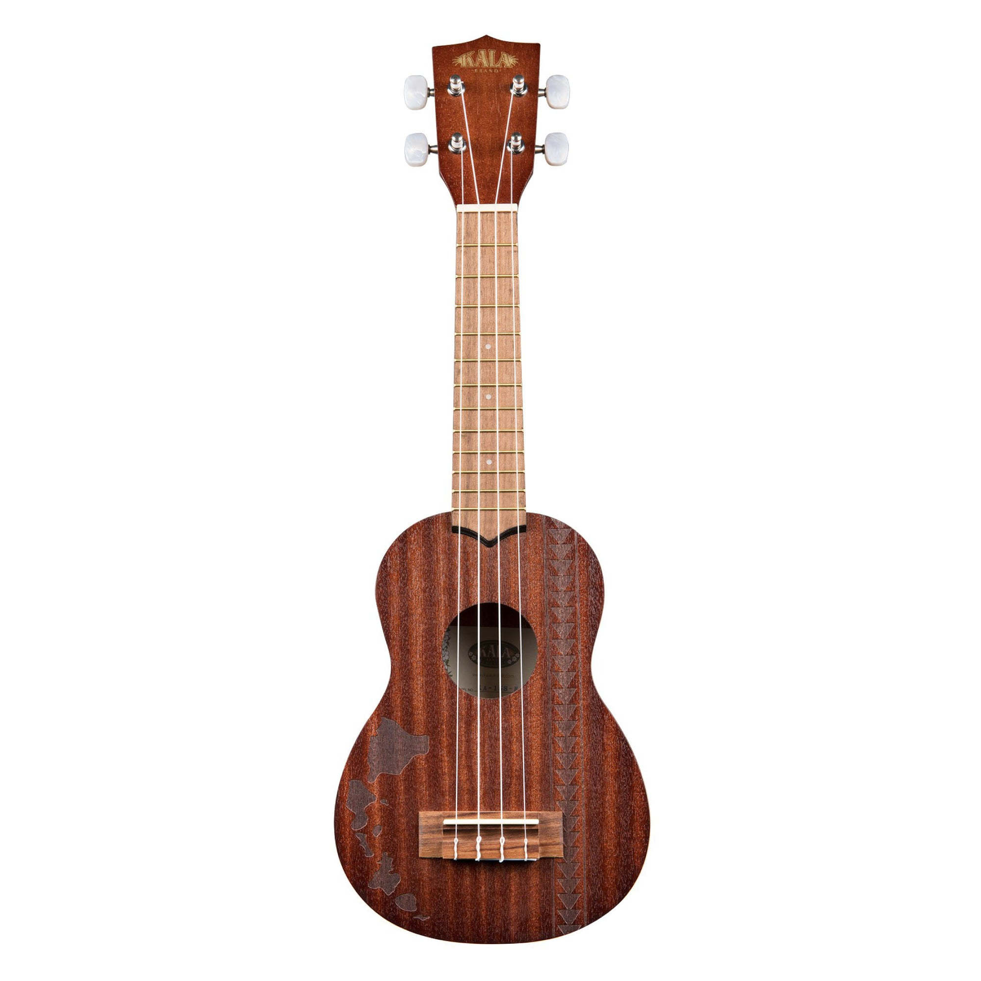 Kala KA-15S-H2 Satin Mahogany Soprano Ukulele w/ Hawaiian Islands & Tattoo