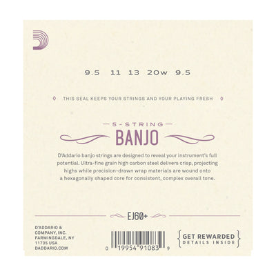 D'Addario EJ60+ 5-String Banjo, Nickel, Light Plus, 9.5-20 - Tarpley Music Company, Inc.