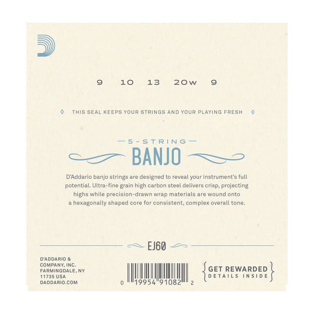 D'Addario EJ60 5-String Banjo, Nickel, Light, 9-20 - Tarpley Music Company, Inc.