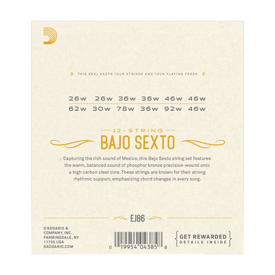 D'Addario EJ86 Bajo Sexto Strings - Tarpley Music Company, Inc.