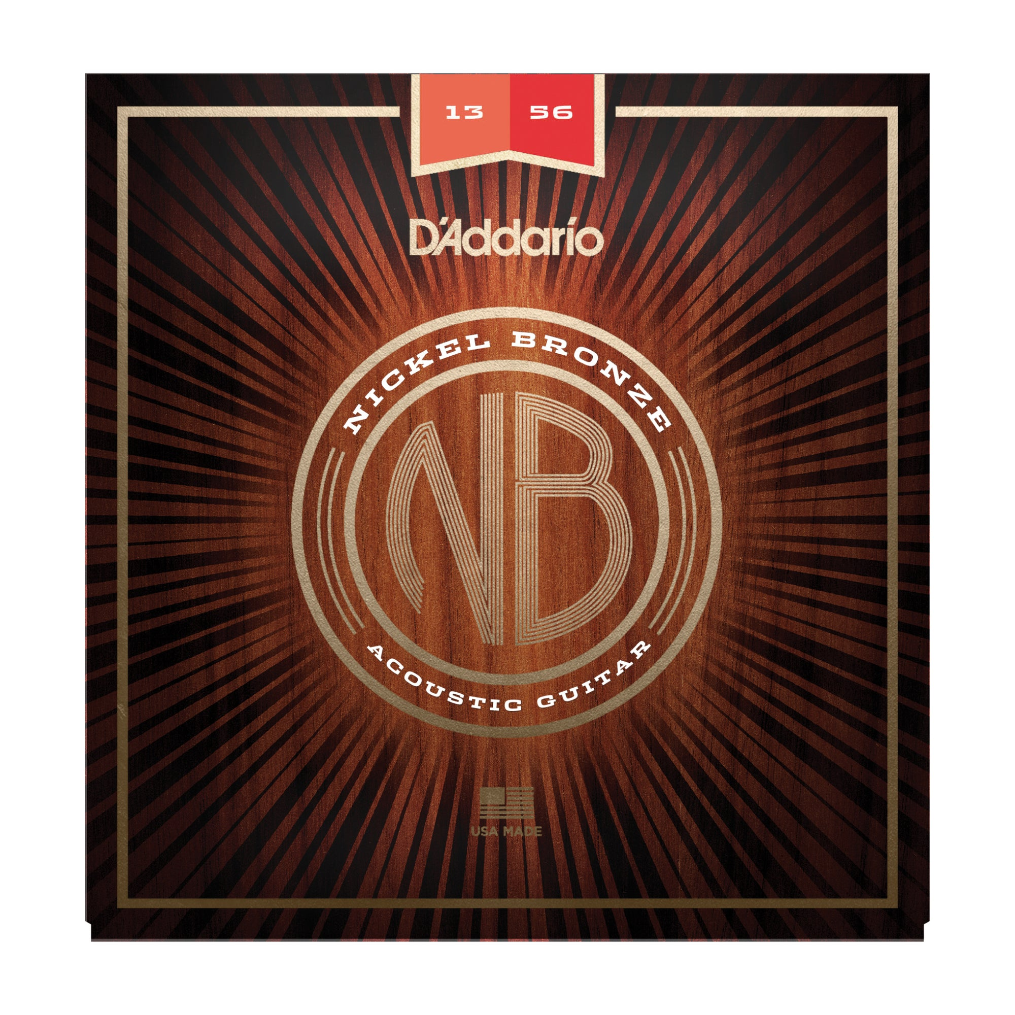 D'Addario NB1356 Nickel Bronze Acoustic Guitar Strings, Medium, 13-56 - Tarpley Music Company, Inc.