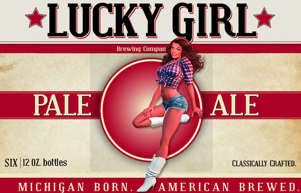 Vintage Pinup Tshirt - Lucky Girl Brewing - Pale Ale