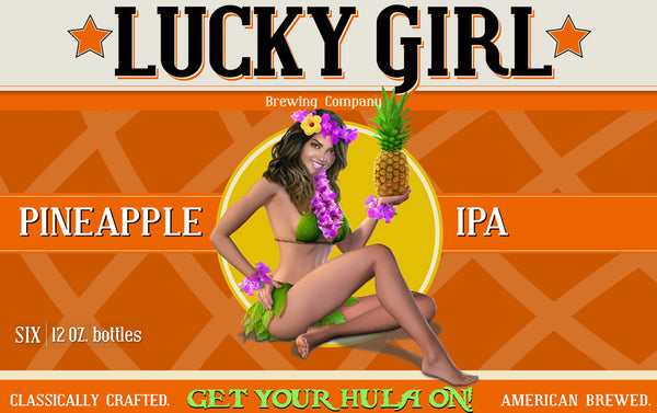 Vintage Pinup Tshirt - Lucky Girl Brewing - Pineapple IPA