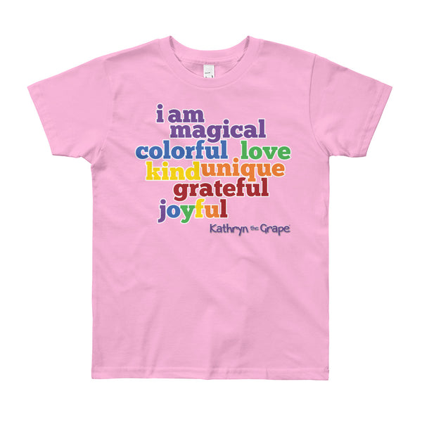 Kathryn the Grape® Affirmations Youth (8-12 years) T-Shirt light