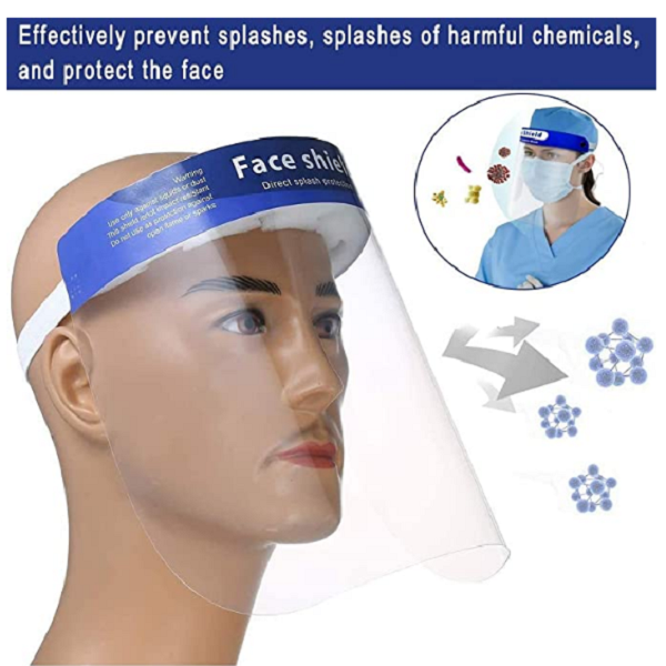 10-Pack of Protective Face Shields Personal protective equipment droplets cross-infecting viruses virus ten Stretch Shields Shield protects Protectors protector protection protecting protect Pieces PET pcs pc of New mask's Mask hospitals hospital HD flu Face coronavirus corona anti-virus Anti-Fog Adjustment 10Pcs 10PC 10