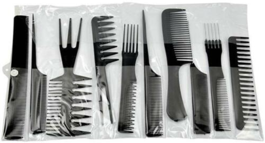 10pc Hair Styling Comb Set Treat your hair Perfect for all hair types with a range of combs to suit straight to curly hair travels travelling travellers Traveller travel stylist stylish styling Set's set Professional pro Men's Men hairdressing hairdresser Hairbrush hair guys guy combs comb brushing Brushes brush black Barber's barber