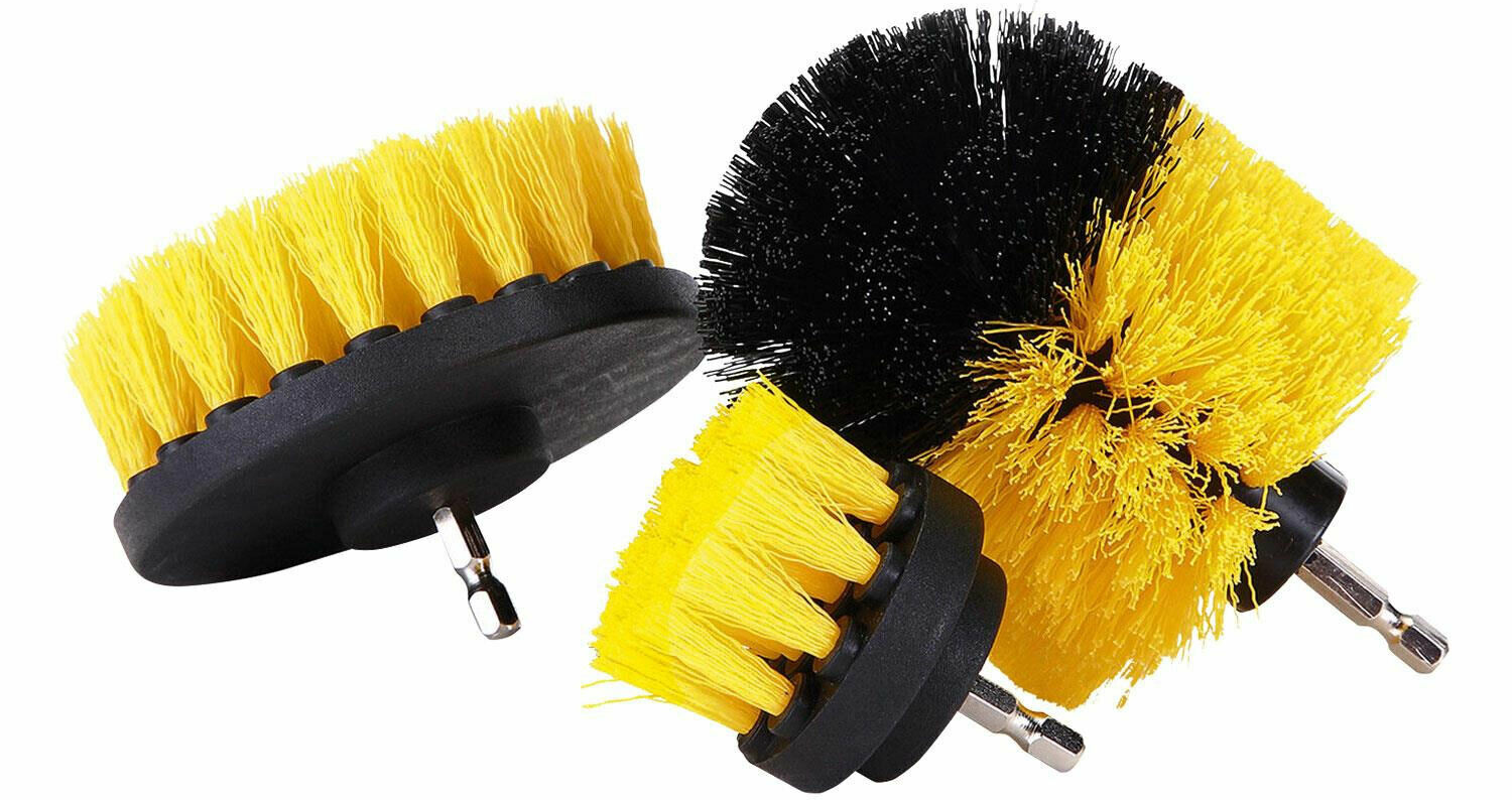 3pcs Drill Brush Cleaner Set Durable nylon bristles with medium stiffness Non scratching bristles, perfect for use on baths, showers tile grout Tile stiffness powerful Nylon kitchens kitchen house Home heads head Handy grouter Grout durable drivers drills drilling drill bits clip on cleans cleaning clean brushing brushes Brushed 3 Piece