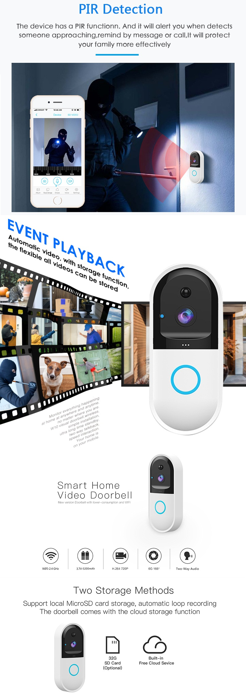 B50 Wifi Video Frontdoor Intercom This intelligent wifi frequency doorbell two-way audio communicate with visitors at your frontdoor wireless way videos video two Storage SD intrecoms Intercom Home gift frontdoors frontdoor front drow doors doorbells Doorbell Door Cloud Chimes Chime Card B50 Audio 720P