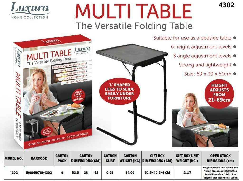 Black Folding Table Buddy Ideal for people in a limited space environment Can also be completely folded & stored under a sofa or in a cupboard Tri-Fold tablet table's table Portable mobile Height Full folds flat Folding Table Folding Foldable Fold-Flat fold desks Desk Buddy Bedside Adjustable