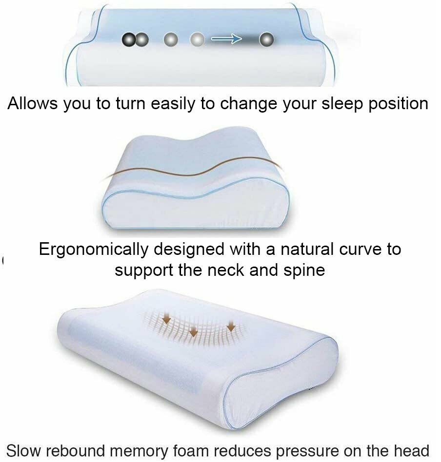 Cooling Gel Memory Foam Pillow Provides excellent cooling for those hot summer nights supports supportive support spine snoring PILLOWCASE pillow's neck support memoryfoam Headset heads headrest head gels Gel Foam cools coolers cool down Cool Contour backs backache Back support back arch support anti-snoring Air
