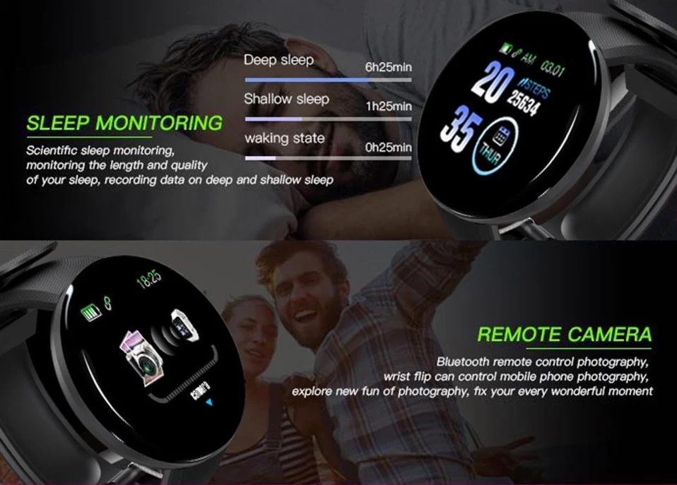 D18 Pedometer Wristband fitness training for the gym, running, cycling activities tracking Alarm Sedentary reminder, Heart rate monitor, Sleep monitor, Wristbands Wristband Waterproof watches watch trackers tracker TFT steps sports sport smartwatches Smartwatch smart Screen pedometers IP65 inch bracelets bracelet bands
