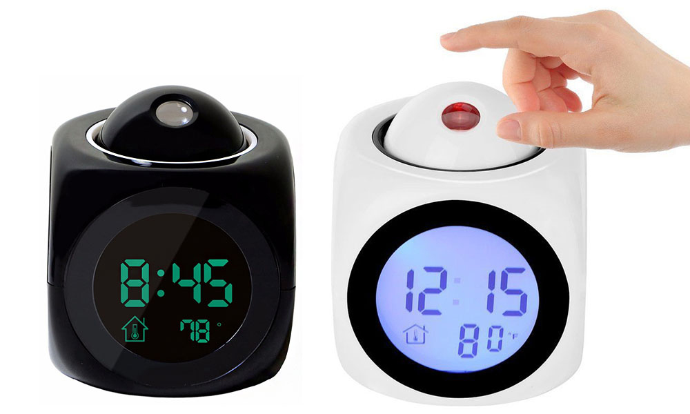 Digital Alarm Clock Projector screen that displays time, temperature, humidity, White wake up Spotlight projects Projectors Projector projection Projected project or mornings morning lights lighting Light-up Light in Digital clock's Clock Black bedrooms bedroom alarms alarm clocks alarm clock