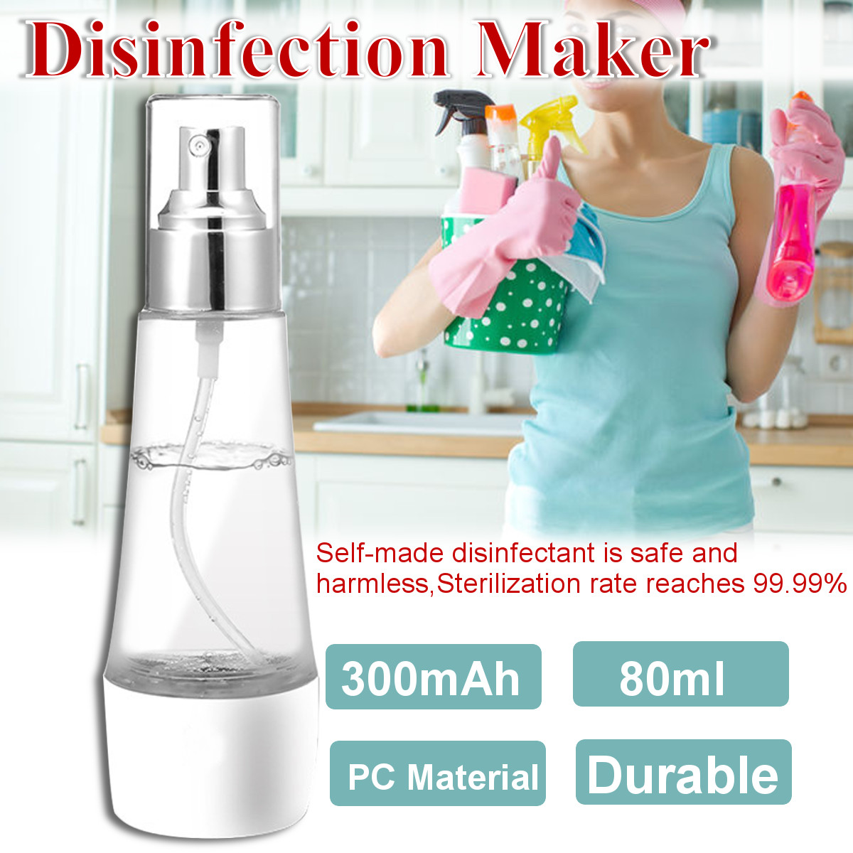 Electric Disinfectant Spray Maker Make your own disinfectant water USB sprays spraying Sprayer's Sprayer rechargeable battery recharge Portable making Maker's Machines Machine Liquid homeware Homemade Home Generator For electrical electric disinfection disinfectants disinfect bottles bottled bottle 80ml