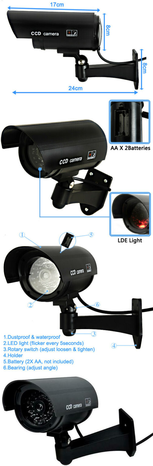 Dummy Security Camera CCTV with professional CCTV housing Deter burglars with this LED Wireless IR Surveillance Wireless Webcam theft security cameras securely secure leds LED lights LED IR houses house homes Home Dummy cctv camera's camcorder's Camcorder cam's Cam burglars burglar anti theft