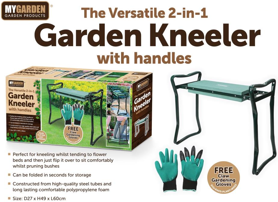 Garden Kneeler with Gloves with side handrails make getting up and down easier with plants planting planters planter Plantar plant pots plant pot plant lawns lawn knee kneeler Kneelers Knee Gloves glove gardens gardening gardeners gardener garden flowers flowerpot flowerbed flower claw bedding plants