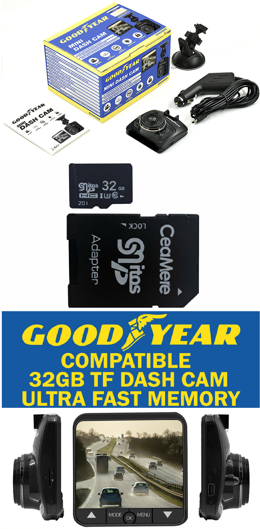 Goodyear Mini HD Dash Cam with 32GB Memory Card Settle insurance disputes easily with this Goodyear Mini HD Dash Camera with 2.4 inch display Includes a Goodyear Compatible 32GB memory card videos video Sensors Sensor Recorders Recorder Motion Mini In-Car HD dvrs DVR Detection dashcams dashcam dashboard cars caravans caravan car park camera's Camera cam's Cam