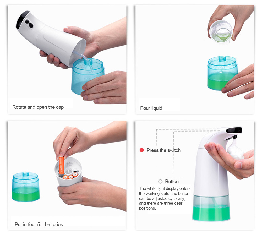 Intelligent Liquid Soap Dispenser Features a built-in infrared sensor & micro-foam pump mechanism washing washes washed WASHABLE wash Touch less Soap smart Sanitizer sanitiser Liquid kitchens kitchen Intelligent handsfree hands free Foaming Foam face soap Dispensers dishwasher dishes bathrooms bathroom Automatically