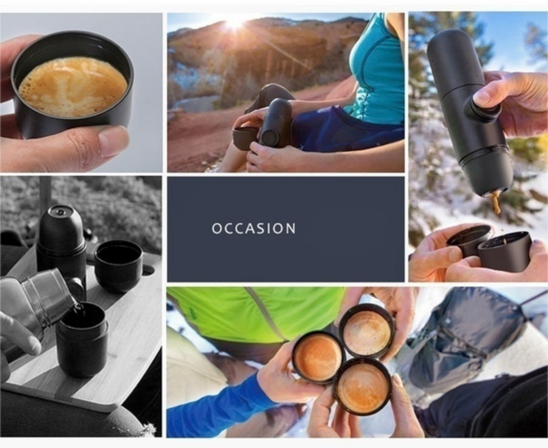 Mini Portable Espresso Machine If you are a coffee lover, The pump creates the necessary 8 bars of pressure required to make the perfect espresso travels Travel tents tenting tent pot Portable Mini Manual Maker's Maker Machine held Handheld hand-held Hand expresso espressos Espresso coffees