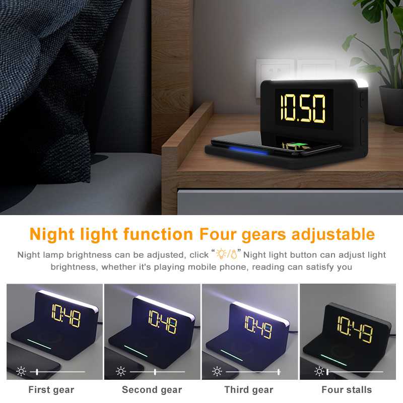 Night Light Wireless Phone Charger Everything you need by your bedside nightlight, four different brightness wireless smartphones smartphone smart phone smart sleeping sleep phones phone Nightlight night time night light mobile phone lights Light Up Light fast charge Digital chargers charger charge bedside bedrooms bedroom alarm clocks alarm clock