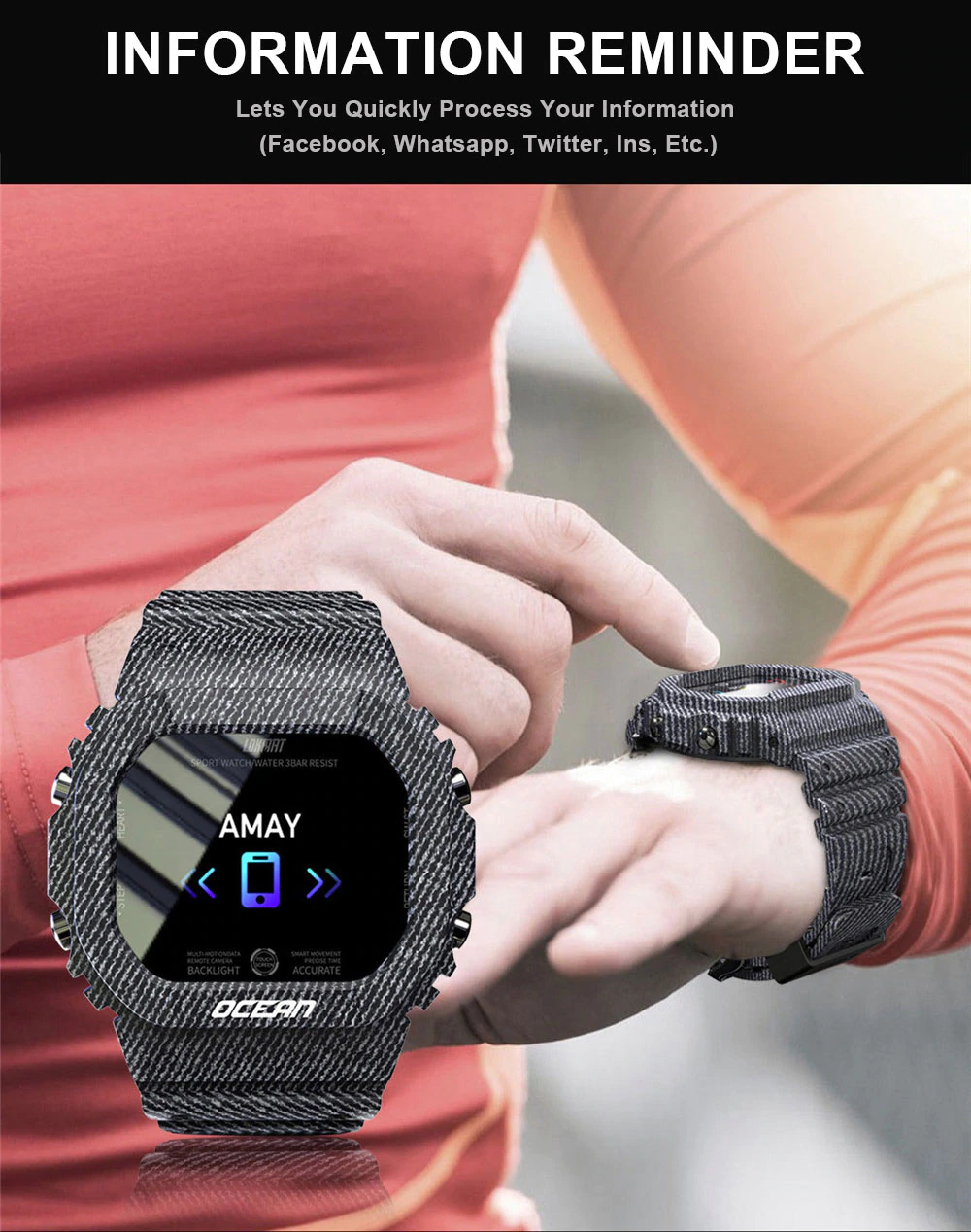 Ocean Smartwatch Downlad the DayBand App to your smartphone, tracking, calorie burn tracking, goal setting, exercise tracking, information reminder, remote camera, multiple alarms, sleep mode, and more! Pedometer: Women's womens women watches watch trackers tracker smartwatches smart sleep monitor Rate