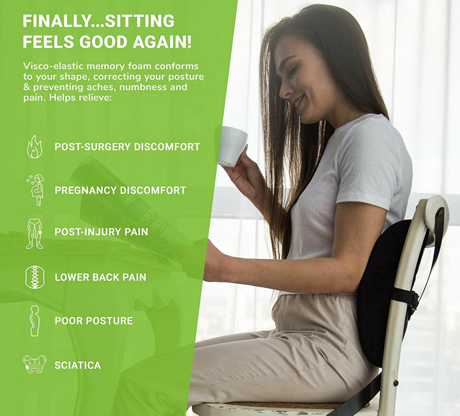 Posture Therapy Back Support Cushion Relieve prevent Lower Back, Sciatica, Disc Pain Free yourself from poor posture and back stress This lumbar cushion Posture Therapy Lumbar Back Support Cushion Office Car Chair Seat Sciatica Disc ultimate back support & posture correction, designed for stress free sitting