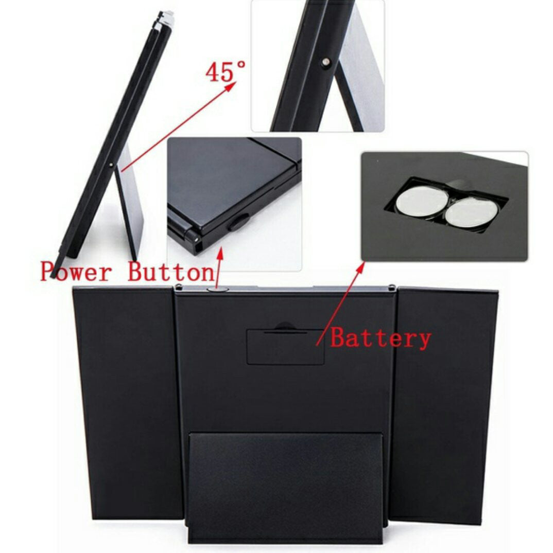 Tri-Folding Cosmetic Mirror with 8 LEDs fabulous eight built-in LED lights your looks Lightweight portable travel companion Three-pane cover all angles Women's womens women womans woman with up Tri-Fold tri mums mum mother's mother Mirror's mirror makeup make LED's LED girls girl folding fold fashion Cosmetic Colour beauty beautiful 8