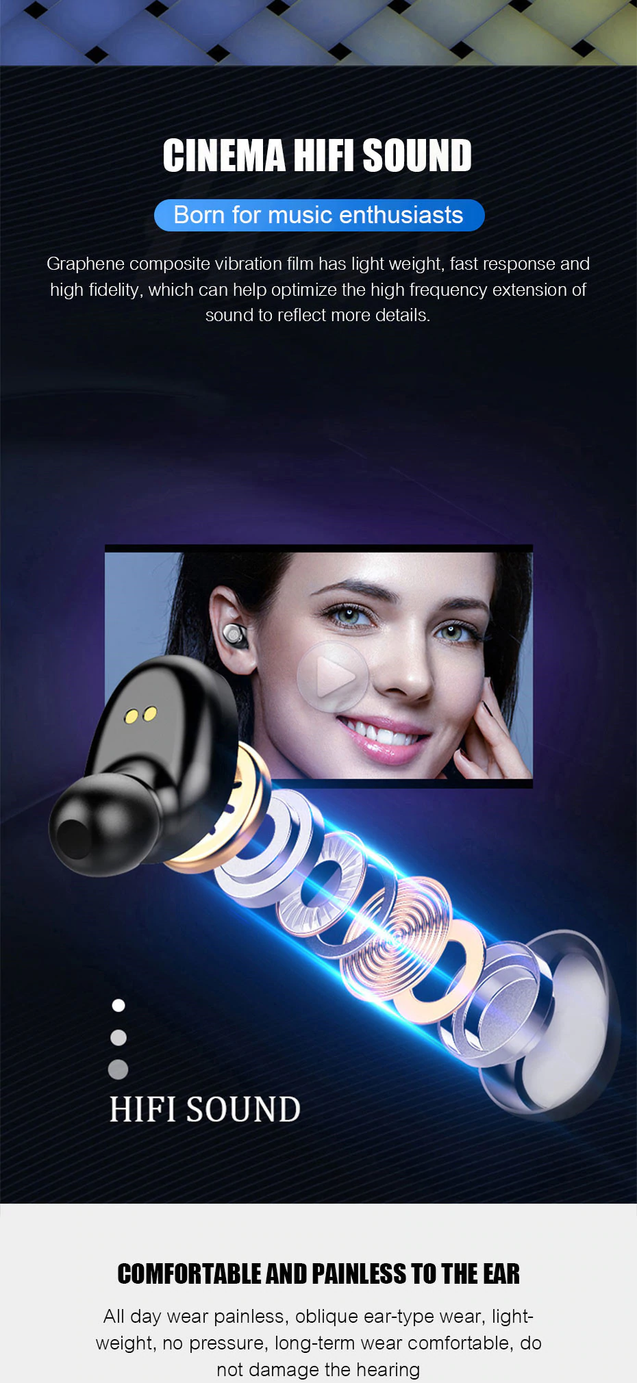 V5.0 Touch Wireless Earbuds fantastic surround sound quality Stereo sports sport smartphones smartphone smart phone powerbanks PowerBank power bank phones phone mobilephone mobile phone microphone iphones iPhone in-Ear headsets Headset headphones Headphone gyms gym For ears earpods earphones earphone earbud ear Bluetooth Android