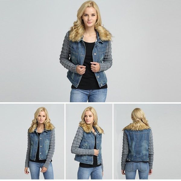 Women's Faux Fur Lined Denim Jacket this season Engineered for a slim fit, flattering and practical omen's womens women womans woman winter slimfit slim short Outerwear Lined lady's Lady Ladies jeans jean jackets jacket girls girl fur fleeces fleece Faux-Fur Faux fashion denim collars collar coats coated coat