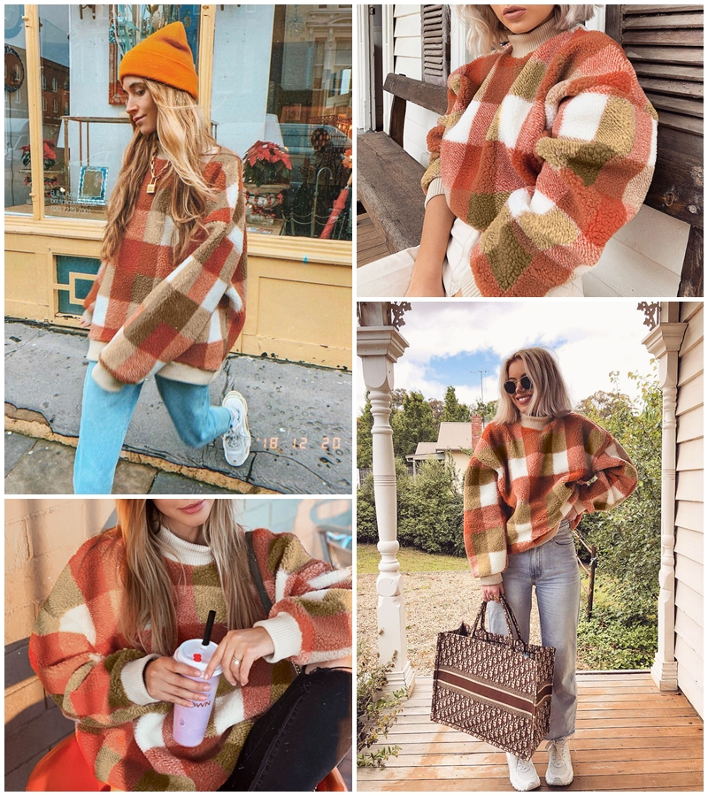 Women's Lambswool Vintage Sweaters Wrap yourself in this gorgeous checked woollen women's sweatshirt Comes in warm autumn shades wool Women's womens women womans woman Winter warm Vintage sweatshirts sweatshirt sweater round plaid neck loose lambswool lamb ladies jumpers jumper hoodies girls girl coats coat