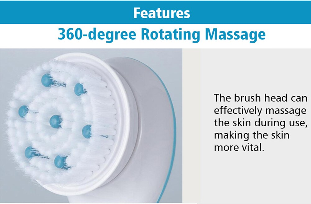 Spin Massager Brush Spa treatment at home 5 different heads including shower puff, exfoliating brush & loofa waterproof tub treatment spinning spinner spin spa smooth skin shower regime polish operate massage hot health head handle exfoliate easy buff brushing brush bath attachments