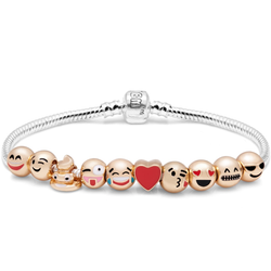 10 Emoji Charm Bracelet 18K Gold Plated Have some fun 10 of your favourite faces Show them to your friends to make them smile wrists Wristbands Wristband Wrist Women's women's women womans woman mums mum movies movie mother kids jewels jewelry Jewellry jewellery jewel Golden girl's girl gift emoji's Children child charms bracelets