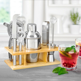 10pc Cocktail Maker Shaker Set Bring out the mixologist in you Mojito to an Old Fashioned Fantastic for dinner parties wooden Wood Twisted Twist Strainers Strainer Spoons Spoon Shakers piece partys party parties Makers Glasses Glass gift Drinkware drinks drinking drink dinner party cocktails Cocktail Boston Bars Bar alcohol