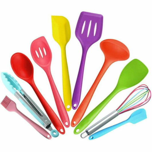 10pc Colourful Kitchen Utensil Set Brighten your kitchen vibrant fun primary and secondary colours The fun, sunny utensil's soft silicone Set's set Resistant prep kitchens kitchen accessories Heat handles handle grips grip food preparation food grade cookware cooks cooking tools cooking cook colourful Coloured Colour chefs chef