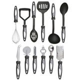 12pc Stainless Steel Cooking Utensil Set Get all the kitchen utensils you need ergonomic nylon handle Whisk utensil Tool stainless steel spoon slice sets set Scoop pizza cutter ladel knife kitchens kitchen accessories hung handles handle grip gadgets Gadget Easy each dishwasher safe Cutlery Set cooking tools cook chef cheese knife catering bottle opener