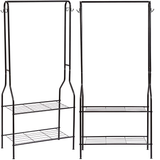 2-Tier Entrance Hall Coat Rack All-in-one unit, heavy duty top hanging bar, women with Top tier Storage standup stands standing stand shoes shoe rod racks Rack Overcoat Organisers Organiser offices office multi-purpose metal jackets jacket house Hooks hook Home hangers Hanger hang hallways hallway Freestanding for coats Bench bedrooms bedroom 4 2