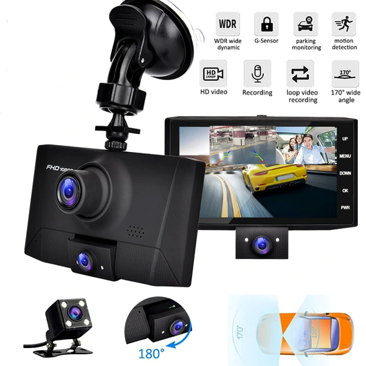 3-Camera Lens Car DVR 24hr motion parking monitor videos video recording Recorders Recorder Rearview Parking Monitors Monitoring Monitor lenses lens In-Car HD dvrs DVR Dual dashcams dashcam dash cam Dash cars caravans caravan car park car accessories Car camera's Camera camcorder's Camcorder cam's Cam auto 3-in-1